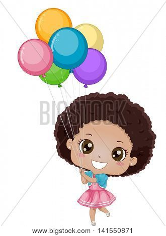 Illustration of a Little African Girl Holding on to Colorful Balloons