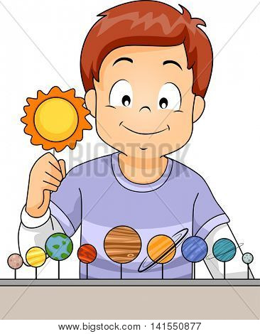 Illustration of a Little Boy Arranging the Planets of the Solar System