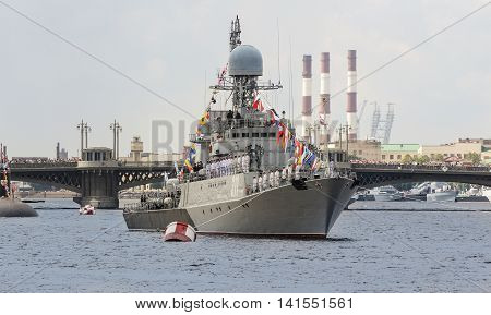 St. Petersburg, Russia - 31 July, The personnel of the ship on parade, 31 July, 2016. Festive parade of warships on the Neva River in St. Petersburg.