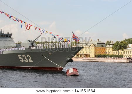 St. Petersburg, Russia - 31 July, The personnel of the ship build in the parade, 31 July, 2016. Festive parade of warships on the Neva River in St. Petersburg.
