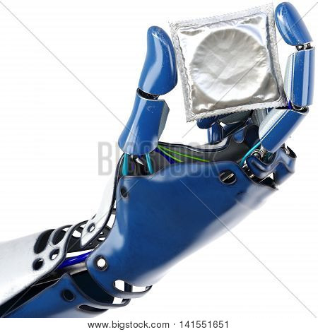 Hand of robot holding a condom. isolated on white background. 3D illustration.