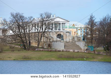 SAINT PETERSBURG, RUSSIA - APRIL 17, 2016: View on the Cameron gallery, april day. Historical landmark of the city Tsarskoye Selo, Russia