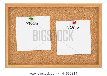 Pros And Cons: Cork Board With Wooden Frame Isolated On White Background 3d illustration