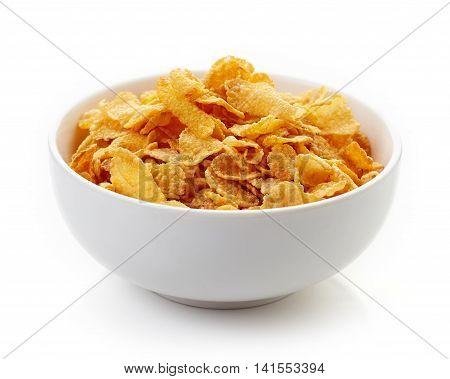 Corn Flakes Bowl Isolated On White