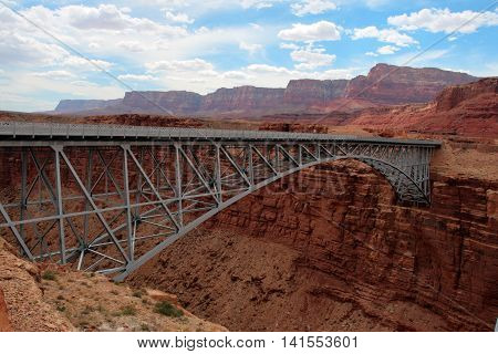 Navajo Bridge crosses the Colorado River's Marble Canyon near Lee's Ferry in the U.S. state of Arizona