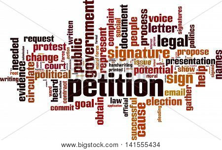 Petition word cloud concept. Vector illustration on white