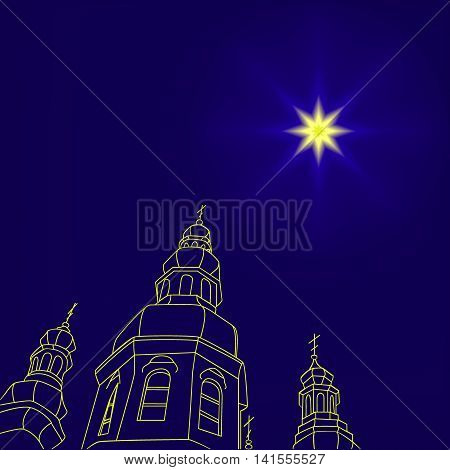Christian christmas church with a Christmas star, star of Bethlehem in the night sky. Vector illustration. Can be used for design, greeting card, invitation, sign, banner.