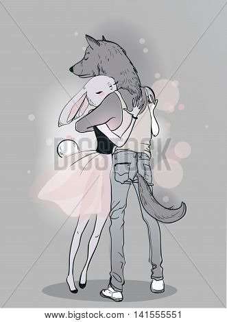 cute couple of volf and hare embrace