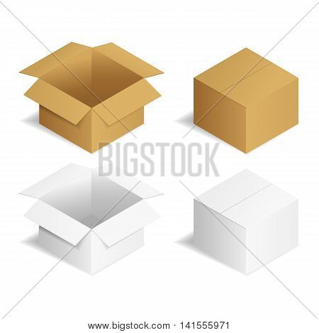 Vector illustration. Set packaging cardboard boxes brown and whiteopen and closed.