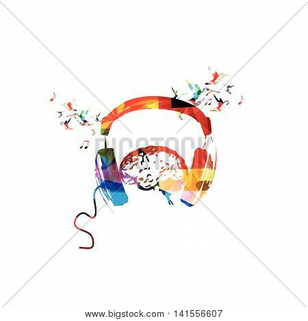 Colorful headphones with human brain and hummingbirds