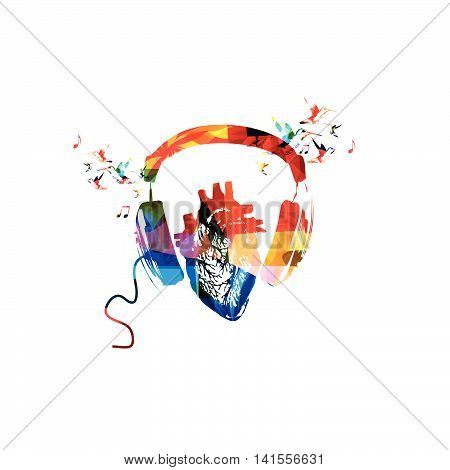 Colorful headphones with human heart and hummingbirds