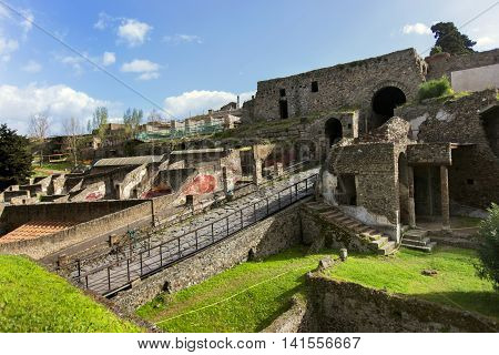 Historical Ruins Of Ancient City Pompeii, Italy