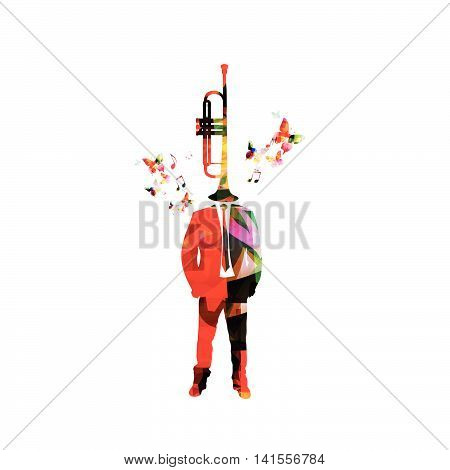 Man with trumpet head. Music inspires concept