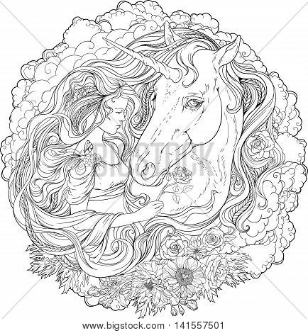 Image of a unicorn and a girl in clouds. Coloring page.