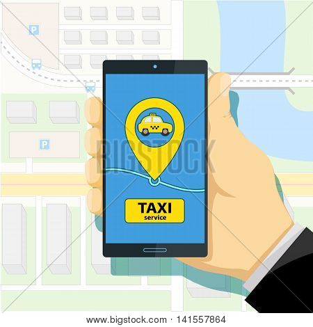 Mobile app to call a taxi. Man holding a smartphone in his hand. Stock Vector cartoon illustration.