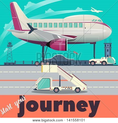 Airport with aircraft flat style vector illustration. Cartoon colorful image.