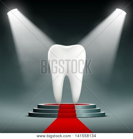 Human white tooth on the podium with searchlights. Stock vector illustration.
