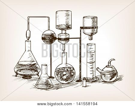 Chemical Laboratory still life sketch style vector illustration. Old hand drawn engraving imitation.