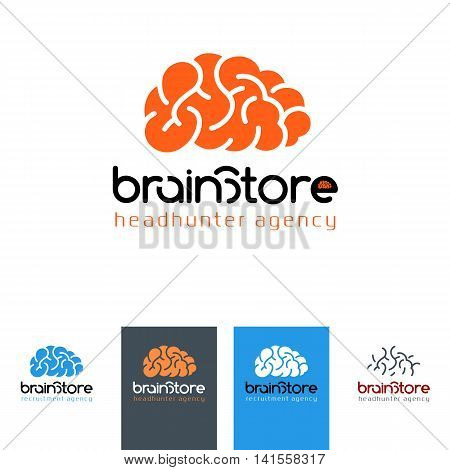 Brain Store - logo for recruiting company headhunter emblem vector illustration