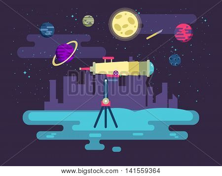 Stock vector illustration of a telescope on a background of outer space in a flat style