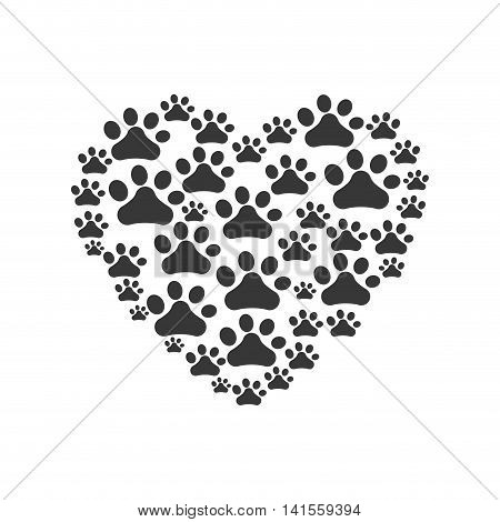 foot print heart dog love pet animal icon. Isolated and flat illustration. Vector graphic