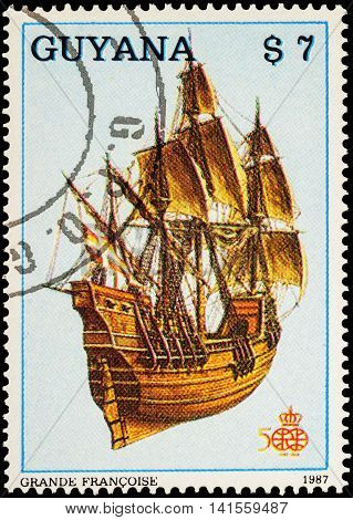 MOSCOW RUSSIA - AUGUST 04 2016: A stamp printed in Guyana shows French four-masted sailing ship