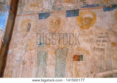 VELIKY NOVGOROD RUSSIA-JULY 22 2016. Fresco paintings with Bible scenes in the interior of Church of the Annunciation in Arkazhi in Veliky Novgorod Russia. Soft filter applied