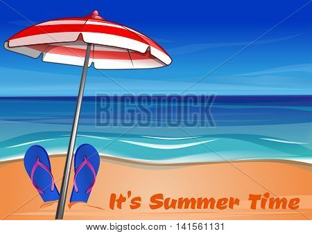Summer background with the sea sandy shore beach umbrella and the inscription: