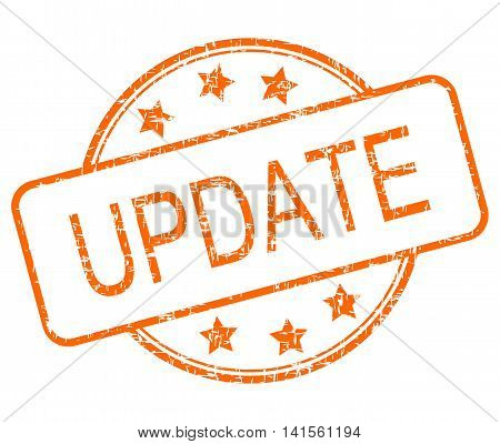 orange update rubber stamp on White background- illustration