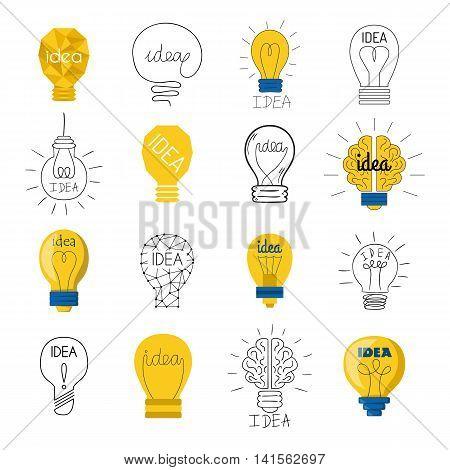 Set drawing idea light bulb concept creative design. Vector Idea lamp innovation electric creativity inspiration concept. Bright idea lamp icon symbol illumination solution lightbulb.