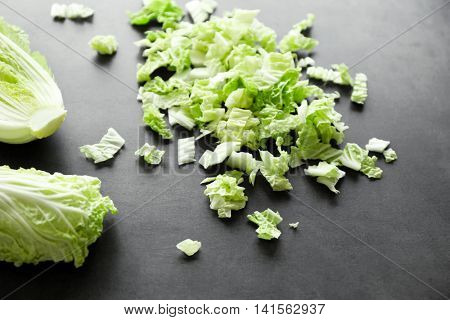 Sliced Chinese cabbage on table