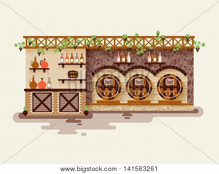 Stock vector illustration interior of wine shop, sale of whiskey in barrels and in bottles, showcase with alcoholic beverages, liquor store in flat style