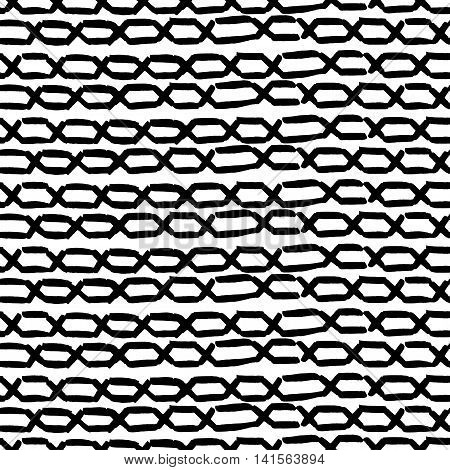 Seamless horizontal background with simple hand drawn chains. vector EPS