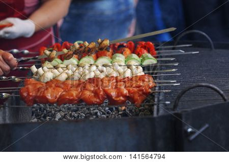 Fresh barbeque on the grill, closeup