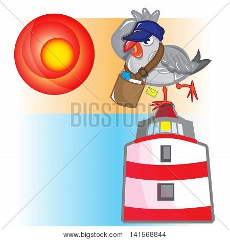 This file represents a postman seagull standing on a red and white lighhthouse.