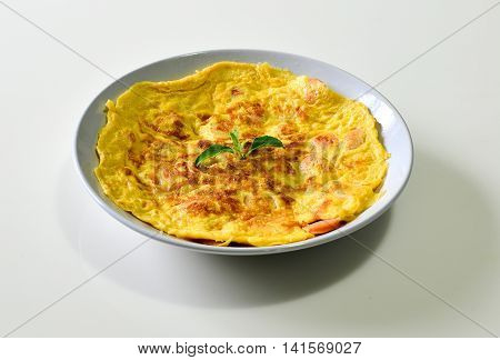 Omelet with sausage Thai style Thai food