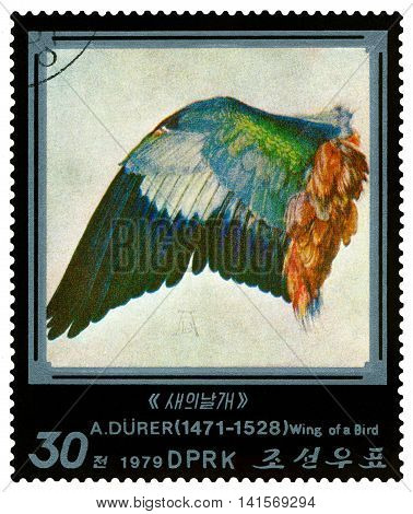 STAVROPOL RUSSIA - August 07 2016: a stamp printed in DPR Korea shows a picture of artist Albrecht Durer (1471-1528) Wing of a Bird 450th anniversary death circa 1979