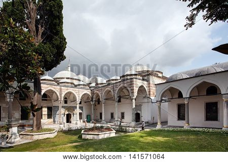 Istanbul Turkey - August 2 2014: The Conqueror's Pavilion (Fatih Köşkü) houses the Imperial Treasury of the Topkapı Palace Museum Istanbul