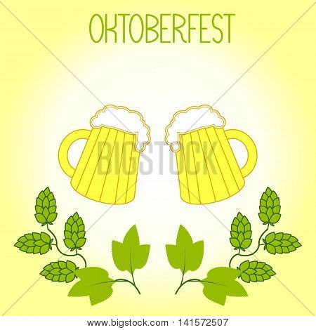 Two mugs of beer and hops branch, Oktoberfest. On a light yellow background