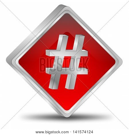 silver red Hashtag Button - 3D illustration