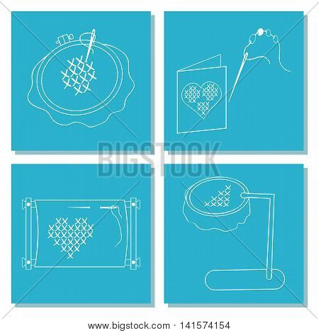 Set of cards with embroidery tools. The white line on blue background. Stock vector illustrations of objects for embroider handicraft hand made. It can be used for packaging textile label emblem.