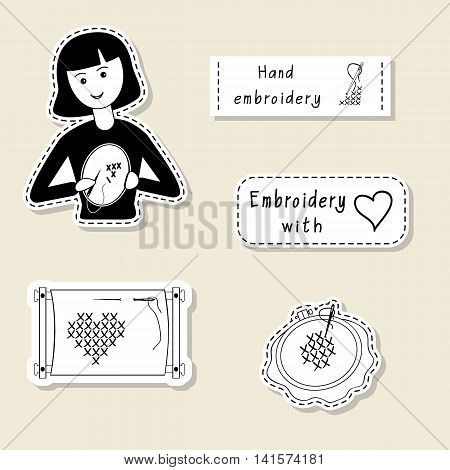 Vector set of design element logo badge label icon decoration and scrapbook object. Hand embroidery handmade theme. Embroider girl hoop frame crosses stitches.