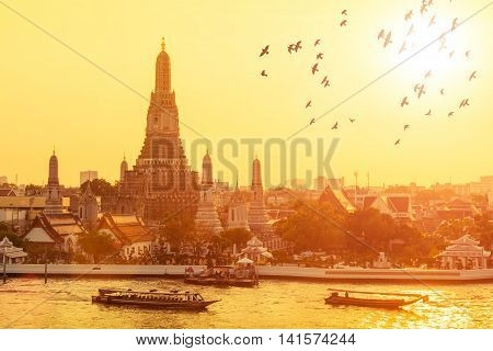 Wat arun with flying birds in sunset at BangkokThailand.