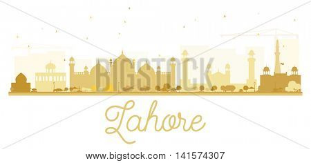 Lahore City skyline golden silhouette. Vector illustration.