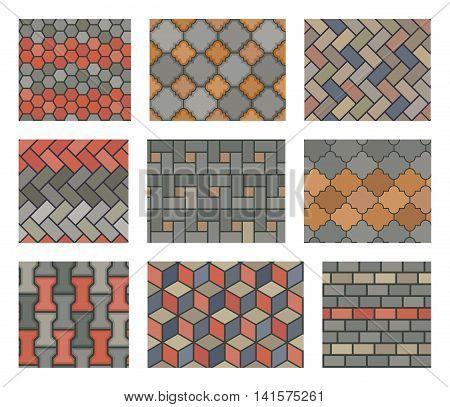 Seamless stone tiles pavement vector set. landscape design elements. Pattern stone pavement and illustration tiles stone wall