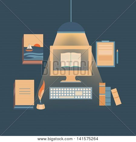 Illustration writing books and copywriting. Set of vector objects: computer, books, feather tool and pencil. Template for design. Background for banners, invitations, web pages, covers, posters