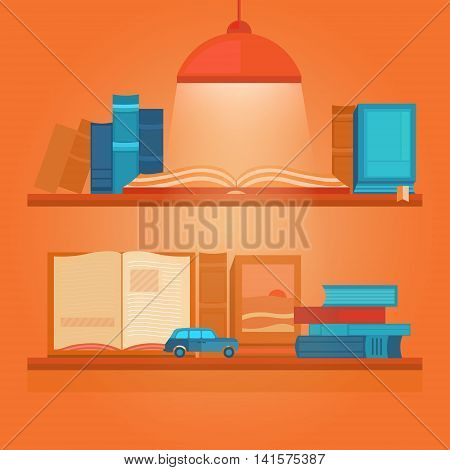 Vector illustration of books on a shelf. Banner book club. Collection of elements for design. Set of icons. Background for banners, invitation cards, web pages, covers, posters. Flat style.