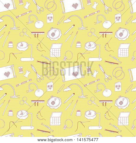 Frame for embroidery scissors organizer spool a magnifying glass and other accessories. Collected in a vector Seamless pattern for use in design web site packaging textiles paper.