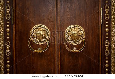 Beautiful door with gold trim. Gold door knocker