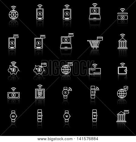 Fintech line icons with reflect on black background, stock vector